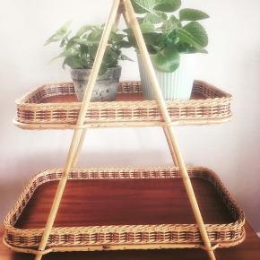 Retro bambus og teakfiner opsats.