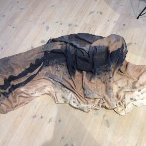 Luksus Bomuld/Hør 190x90 cm. Stort smukt tørklæde. Nypris 750,-