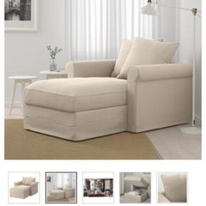 Super lækker chaiselong stol, med opbevaring under sædet. Der medfølger både mørkegråt og beige betræk til. Man sidder så godt. Sælges kun pga flytning. Fra grönlid serien.