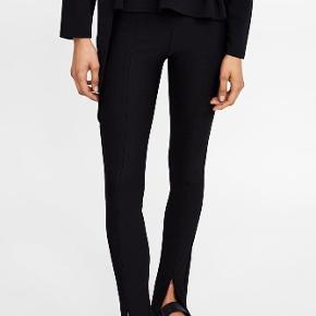 Lange ribbet bukser / leggings med lynlås