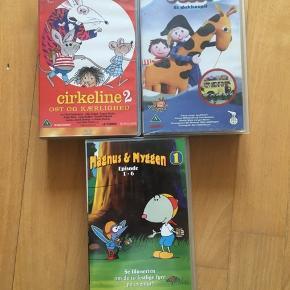 Sælger disse VHS børne film:  Cirkeline 2: Ost og Kærlighed. Sørøver Sally - et dukkespil. Magnus og myggen 1: episode 1-6 Sælger den for 15 kr pr stk. Kommer fra et ikke ryger hjem. Afhentes i 2990 Nivå eller sendes mod betaling