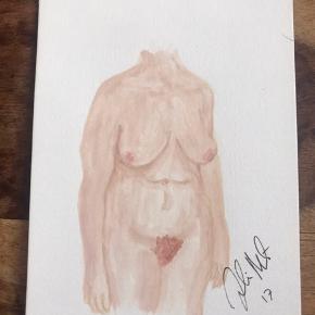 Lille akvarel Nøgen dame/ nude woman 14,8 x 21 cm (standard A5) Sælges samlet for 250kr