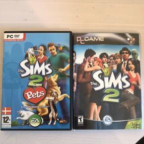 Sims 2 + udvidelsespakke sims 2 pets Til pc 50 kr. for et spil 100 kr. for begge