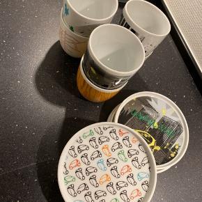 Sæt med 6 kopper og 6 små tallerkener fra BoConcept alle med forskelligt motiv