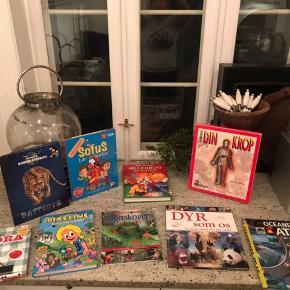9 spændende lærerige bøger om kroppen, førstehjælp, dyrene, havet, mærkedage og meget meget mere.  Sælges samlet for 100 kr.