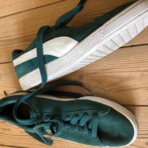 Fine Puma Suede i en flotteste grønne.  Stort set ikke brugt, fremstår derfor næsten som nye. Har enkelte mørke linjer på skoens hvide gummi.