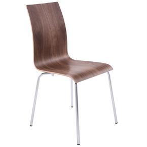 CLASSIC stol i valnød er SÅ stilren og i klassisk design. Tilfører varme til moderne boliger med et hvidt look. Den slanke træplade giver god fleksibilitet og sikrer optimal komfort.  Højde: 88 cm. Siddehøjde: 46 cm. Sædets bredde: 40 cm. Sædets dybde: 38 cm. Ryglæns højde: 46 cm. Ryglæns bredde: 32 cm.  4 stk i valnød