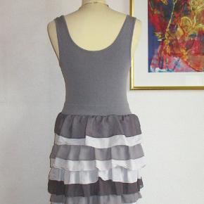 Farve: Sort + forskellige grå farver  100 % NY: Frisk og sød kjole med flæser. Materialet er 94 % viscose + 6 % elastan.  Brystvidde: 37 cm x 2 + strech Længde: 89 cm  Ingen byt, og prisen er fast