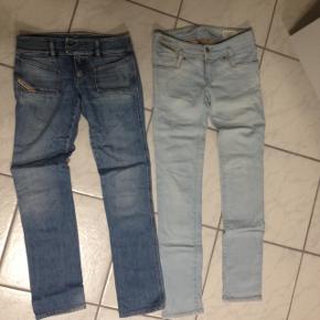 Diesel jeans 2 stk almindelig brugte. Begge lavtaljede . Prisen er for et par.  Køb begge til 175,- Måler 38 i talje.  Sælges billigt. Se billeder for brugsspor.   De er str 25 og 26 men de føles ens i størrelse synes jeg.   Har flere jeans på min side :)