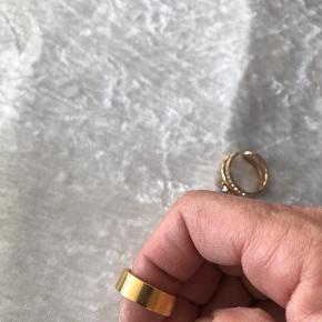 Super smuk forgyldt ring med små sten foran  Str 57  Ny