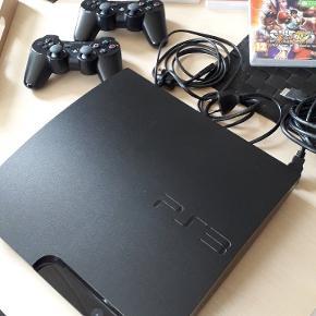 Playstation 3 inkl 2 controllere controllere og 10 spil som på foto