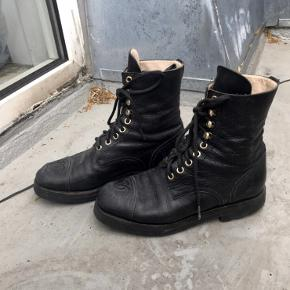 Vintage Chanel Lace Up Boots