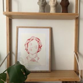 Woman 💫 Tegnet med rød acrylic fineline pen ✨ 30x23 cm   Kan laves i andre farver pr. Bestilling ✨