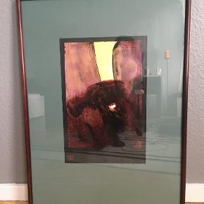 """Akvarel, Niels Erik Skovballe, motiv: Abstrakt, stil: Ekspressionisme, b: 54 h: 74  Original Akvarel fra serien """"Silent Odyssey"""" af kunstmaler Niels Erik Skovballe.  Akvarellen hedder: """"Silent Oddysse / Målløs Odysse LII"""" fra 1997.  Kunstnerens underskrift under billedet og stempel med kunstnerens navn og adresse på bagside.  Størrelse på rammen 74x54 cm. Selve akvarellen inkl. kunstnerens oplysninger ca. 41x28 cm. Rammen står flot som ny i mahogni."""