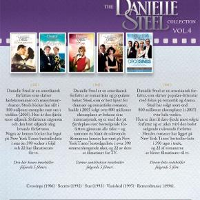 0102  Danielle Steel Collection - 5 Miniserier - Vol. 4 - DVD Dansk Tekst - I FOLIE   Danielle Steel er en amerikansk forfatter, som skriver populær-litteratur med fokus på romantik og drama. Steel har solgt mere end 800 millioner eksemplarer (i 2005) over hele verden. Hun er den til dato fjerde mest solgte forfatter og er uden tvivl den bedst sælgende nulevende forfatter. Hendes romaner har ligget på New York Times' bestseller-liste i 390 uger i træk, og 22 af romanerne er blevet filmatiseret til tv.    Denne boks indeholder følgende miniserier: - Crossings (1986) - Secrets (1992) - Star (1993) - Vanished (1995) - Remembrance (1996)