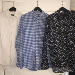 ◽️ Mørkeblå skjorte fra Matinique: Næsten ubrugt.  ◽️ Ternet skjorte fra Tommy Hilfiger: Brugt, men i god stand.  ◽️ Hvid skjorte fra Matinique: Meget brugt, men i god stand.