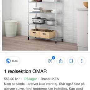 Sælger denne OMAR reol med 6 hylder fra IKEA. Den er samlet - men er super nem og hurtig at skille ad, hvis det ønskes.  Jeg sælger den, da den ikke passer ind, hvor jeg ville have den.   Skal hentes i Slagelse.   Forbeholder mig retten til at sælge til højest bydende.