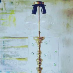 Messing bordlampe med dobbeltfatning💘175kr  Prisen er fast😊