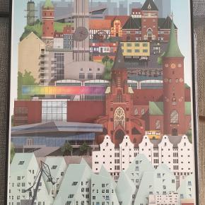 Aarhus billede sælges. Billedet er indrammet i specialtilpasset ramme. Nypris ca. 900 kr.