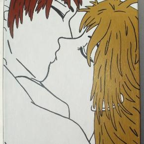 Brand: * KÆMPE UDSALG * Varetype: The Kiss maleri – manga / anime Størrelse: 30x40 Farve: - Denne vare er designet af mig selv.  Malet med hvid, guld, mørk kobber og sort-metallic maling. Påmalet sort-metallic ramme.  Eget design. 30x40cm. Signeret.  Egen påsætning af ophængning    * * * * KÆMPE UDSALG ** * *   NU KUN: 300kr. pp.  Porto er sat som forsikret pakke, men er selvfølgelig op til køber selv :)    * * * Se også mine andre annoncer * * *