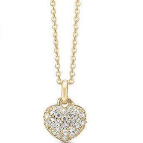 Varetype: Halskæde Størrelse: 45 cm  Farve: Guld  Hjertevedhæng i kæde i forgyldt sølv, og prydet med klare zirkonia.  Kædens længde: 45 cm  Nyt