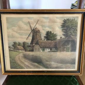 Maleri i gammel ramme af: M.F. Larsen. Brugsmærker i rammen, men uden revner i glasset.