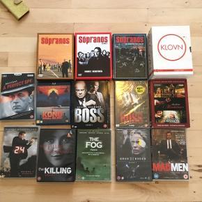 Dvd film sælges samlet billigt. Flere uåbnet. Den complete sæson med klovn. Sæson 2.3.5 The Sopranos. Sæson 1 boss +3 disc nye. samt flere film. Hentes på Frederiksberg