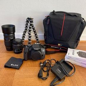SÆLGES SAMLET: Canon EOS 650D Canon EF-S 18-55mm objektiv Tamron AF 70-300mm objektiv CASELOGIC kamerataske Tripod