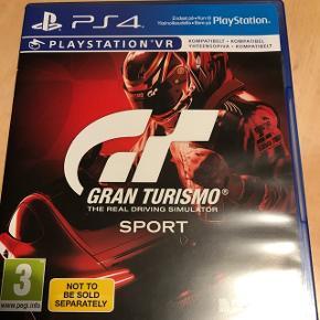 Gran turismo til PS4Kompatibelt med PS VR.  Er blevet spillet 1 gang i 20 minutter.