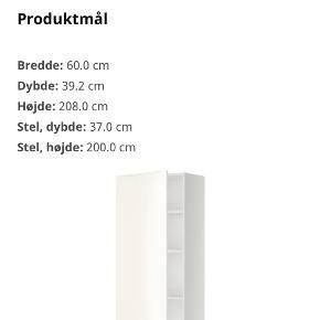 Ikea METOD badeværelsesskab. Mål fremgår op billede to. Kan desværre ikke passe ind hos mig alligevel. Købt d. 20/10 2020 og kvittering medfølger. Købt for 990,- kan afhentes i Viby j.