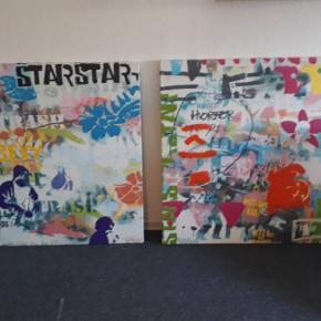 2 flotte malerier af Esbjerg kunstneren Simon Buch hvor han kendes ved kunstner navnet Sean punk. Akrylmaling på lærred.  Måler hver 100×100cm. Sælges helst samlet for 1200 .