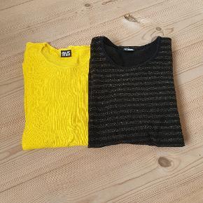 2 stk Nørgaard bluser. Den gule stort set ikke brugt. Den sorte med guldglimmer uden fejl og mangler. Giv et bud! Sælges samlet eller hver for sig.