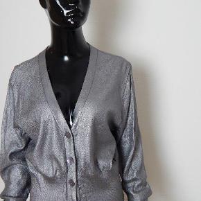 BITTE KAI RAND Cardigan XXL (42-44), grå/sølv, bom/viskose Bryst 112 cm, lgd 56 cm