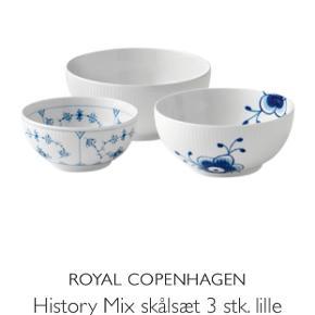 Royal Copenhagen History mix skåle 13-15-18cm   Aldrig brugt   Prisen er fast og varen sendes ikke. Sælges som sæt.  (Kan dog købes sammen med Royal Copenhagen Etagé til 1100kr for begge