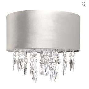 Grå velour lampeskærm til loft med diamant vedhæng. Aldrig brugt - info ses på billede 2.   Bestilt hjem fra London