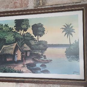 Afrikansk litografi af lille landsby ved solnedgang.  47 cm. Bred 34 cm. Høj
