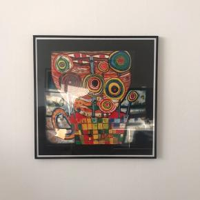 4 stk grafisk tryk af Hundertwasser med ramme. Købt i Wien Prisen er for alle 4