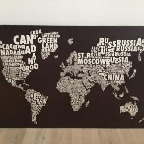 Atlas billede i flot stand. Brunt og hvid. Mål: 130x80cm