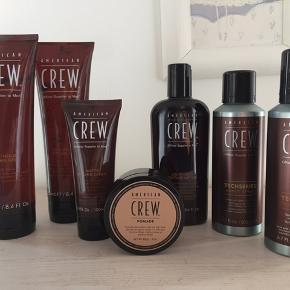 American Crew pakke.  Sælges helst samlet 😃   Indeholder: Techseries Texture Foam Techseries Boost Spray Light Hold Texture Lition Pomade Matte Styling Cream Firm Hold Styling Gel Light Hold Styling Gel