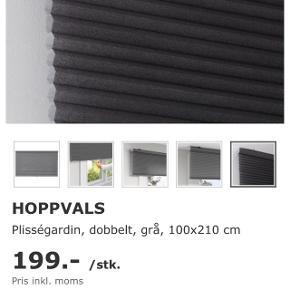 2 helt nye plisségardiner/gardiner/persienner fra IKEA. 100x210 cm.