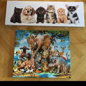 2 fine billeder til børneværelset sælges samlet. Mål. 50x60 med forskellige dyr fra Danish design Mål kat/hund: 30x90 cm