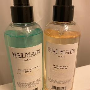 Sun protection spray til håret og salt spray til håret. Den ene har aldrig været brugt.    https://www.bangerhead.dk/balmain-sun-protection-spray-200ml-dk?gclid=EAIaIQobChMIqISz-42m5gIVR7YYCh1eTAsKEAQYASABEgL6E_D_BwE