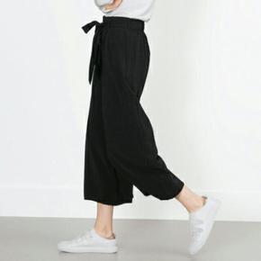 Zara culotte bukser / 3/4-bukser med vide ben og bindebånd i den elastiske talje, str large