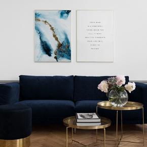 Into the blue ocean blå og hvid plakat med guld og tilhørende guldramme i 90x100 cm. Standen er som ny. Nypris 725. Bytter ikke.