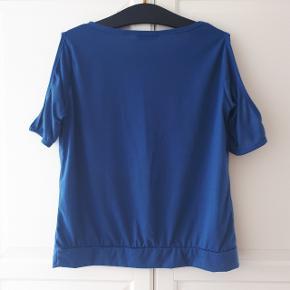 Blå top med åbne skuldre. Måler ca 51 cm fra ærmegab til ærmegab og 60 cm fra skulder og ned.  Kan hentes i Roskilde eller sendes med DAO mod betaling af fragt.  #30dayssellout