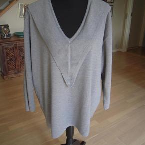 Varetype: Bluse Farve: Grå  Så lækker grå strikket bluse.  Oversized i modellen  Brystmål er 120 cm Længde, målt fra midt nakke og ned er 75 cm.  Fin detalje rund i udskæring.  Vakemærket i siden er fjernet, mener at strikken er en blanding af Bomuld og uld.