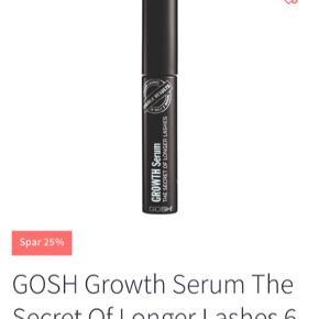 Gosh eyelash serum 6ml  GOSH Growth Serum The Secret Of Longer Lashes er en effektiv serum til øjenvipperne. Dette serum går ind med aktive ingredienser og både plejer samt styrker vipperne, så de bliver stærke og mere fyldige. Indeholder den vækstaktive SymPeptide® XLash, som påvises at have en synlig effekt på øjenvippernes længde og tykkelse ved daglig brug. Vækst serum indeholder også Follicusan, som giver tykkere vipper, fremmer hårvækst og øger procentdelen af hår. Få smukke dådyr vipper med denne aktive øjenvippeserum.  Fordele:  Øjenvippe serum Aktive ingredisenser Stærkere og fyldigere vipper SymPeptide® XLash Follicusan Øger procentdelen af hår Dådyr vipper Anvendelse:  Påføres på helt rene øjne, fri for makeup Påfør serummet langs den øvre vippekant Påfør om aftenen, så det kan virke natten over