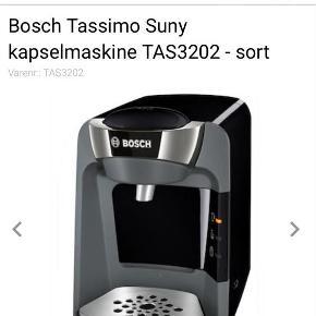 Brand: Bosch Varetype: Kaffemaskine Størrelse: ... Farve: Sort Oprindelig købspris: 550 kr.  Brugt ca et år Virker perfekt  BYTTER IKKE