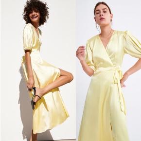 Satin gul maxi wrap kjole fra Zara med puffed ærme 🐥