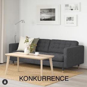 3 personers sofa i mørkegrå med metalben. Jeg har vundet den i en konkurrence i Ikea. Den er helt ny. Stadig i indpakning. Den koster 4000kr i butikken, men jeg sælger til 3000kr, så er der 1000kr at spare. Prisen ikke til forhandling da vi ellers beholder den selv :)